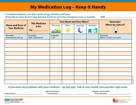 medication signing sheet template medicine picture schedule my medication log keep it