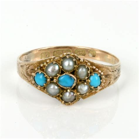 buy antique turquoise and pearl ring made in 1873 sold