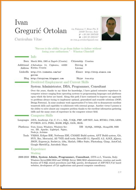 4 english cv exle uk resume pictures