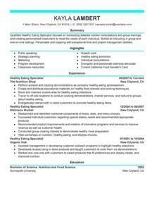 Food Specialist Resume Sample My Perfect Resume