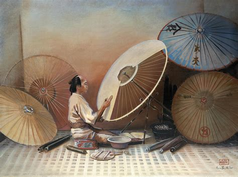 shisei tattoo japanese umbrella maker painting by miller