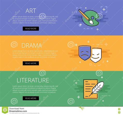 app design qualifications art drama literature vector banners template set stock