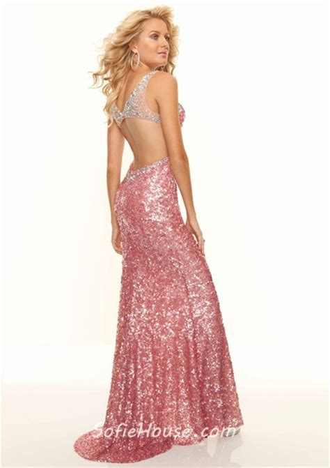 Longdress Set 2in1 Glitter Pink sweetheart sequined backless prom dress with straps