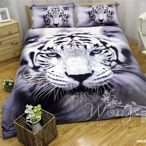 white tiger pattern cotton bedding sets great duvet cover
