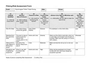 Emergency Risk Assessment Template by 1 Events Filming Risk Assessment Form 1