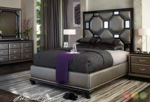 modern black bedroom set michael amini after eight modern upholstered bedroom furniture set black onyx finish by aico