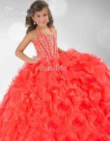 2015 cute orange girls pageant dresses halter beading ball