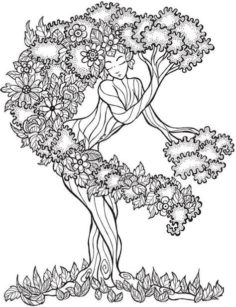 Trees Coloring And Dovers On Pinterest Tree Coloring Page For Adults