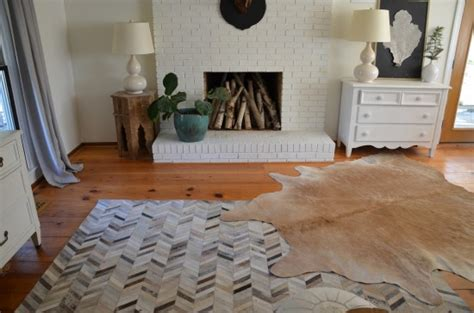 Cowhide Floor Rugs - layered cowhides also oysters