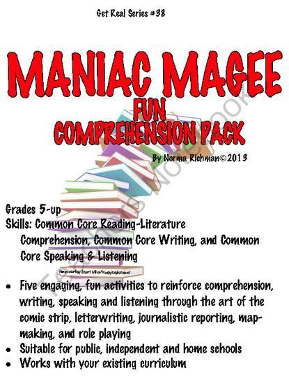 maniac magee book report maniac magee comprehension pack with common