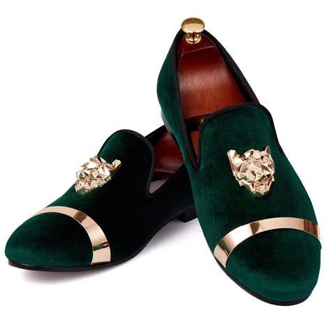 harpelunde loafer shoes green velvet slippers animal