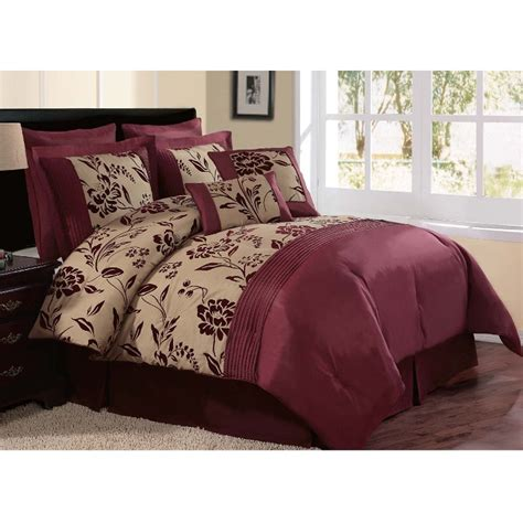 maroon bed set indiologie 7pc comforter set burgundy