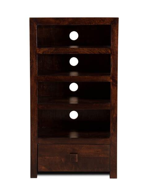 Sheesham Wood Bookcase High Hi Fi Shelving Unit Solid Mango Wood Stained Walnut