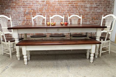 landlocked farmhouse dining table and bench farmhouse dining table and matching bench lake and