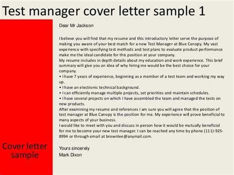 cover letter for testing resume test manager cover letter