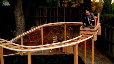 diy backyard roller coaster calif father son team build roller coaster in their