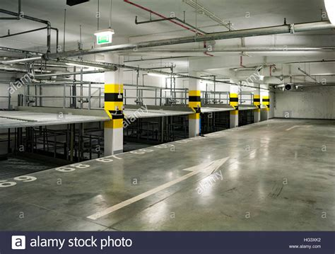 empty multilevel car parking system at a underground