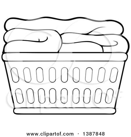 Block Folding Black White clipart of a black and white lineart laundry