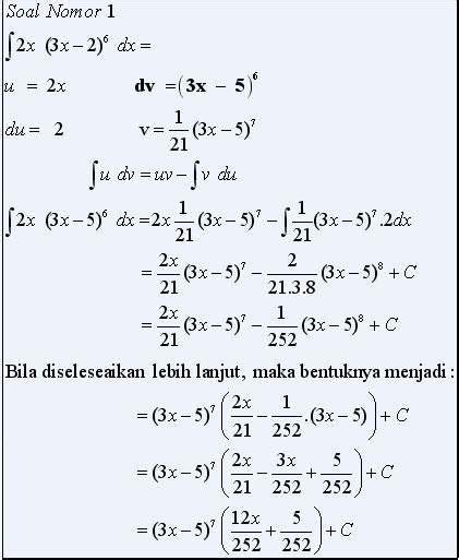 contoh soal integral parsial  pembahasannya