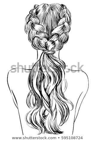 french braid hairstyle stock vector royalty