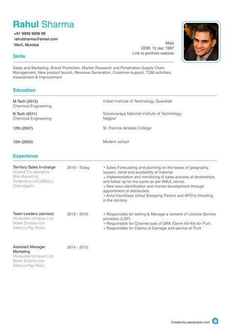 What Is The Format Of A Resume by Resume Format Cv Format Resume Sle At Aasaanjobs
