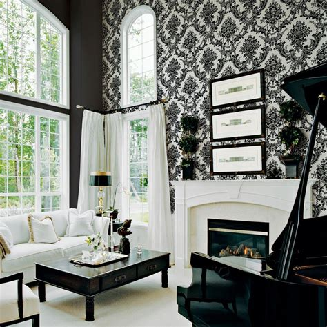 black and white damask wallpaper home depot the wallpaper company 56 sq ft black and white mid scale