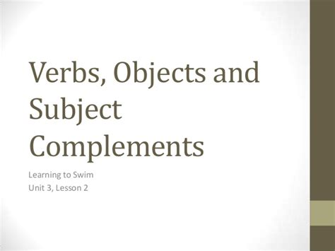 verb complement pattern verbs objects and subject complements