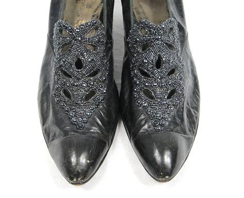 beaded high heel shoes edwardian black leather beaded high heel shoes for sale