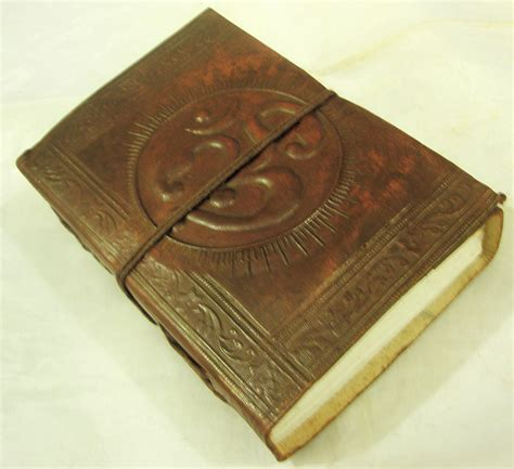 Handcrafted Journal - handcrafted om aum hindu symbol embossed paper