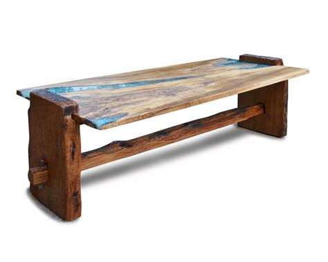 Turquoise Coffee Table by Rustic Oak Coffee Table With Turquoise Inlay Abodeacious