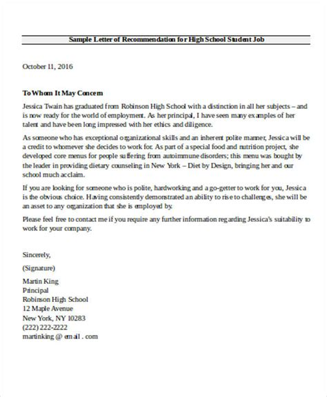 high school recommendation letter high school recommendation letter sle 9 exles in