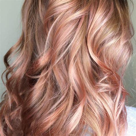 rose gold lowlights on dark hair beautiful rose gold balayage blush balayage beyond