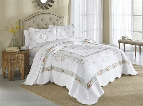 cannon embroidered bedspread fresh flowers