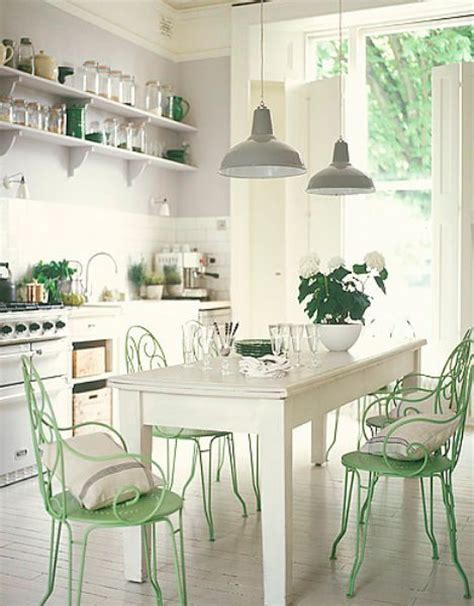 shabby chic white and mint kitchen interiors by color