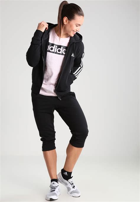 Fashion Setelan Adidas Sport adidas tennis shoes adidas performance 3 4 sports trousers black white clothing