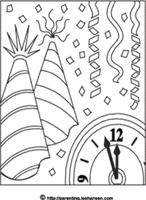 new year s party hats coloring pages new year coloring page midnight clock party hats