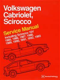 auto repair manual free download 1989 volkswagen cabriolet on board diagnostic system vw volkswagen repair manual cabriolet scirocco 1985 1993 bentley publishers repair
