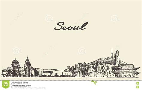 sketchbook korea seoul skyline south korea illustration draw sketch stock