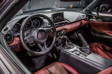 mazda miata 2017 interior 2017 mazda mx 5 rf debuts in new york with a power targa roof
