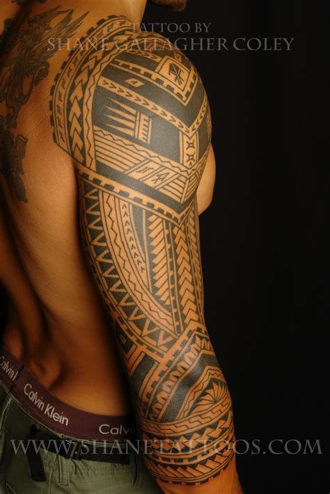 tribal 3 4 sleeve tattoos shane tattoos polynesian 3 4 sleeve