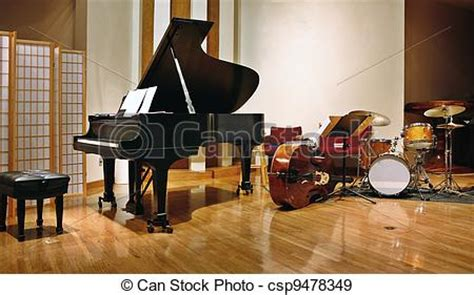 what instruments can be found in the jazz rhythm section stock photographs of jazz instruments on stage csp9478349