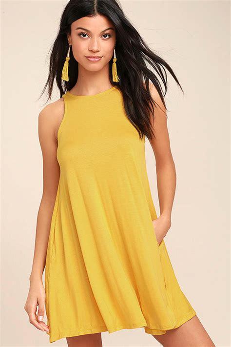 Yelloni Dress chic yellow dress sleeveless dress trapeze dress 38 00