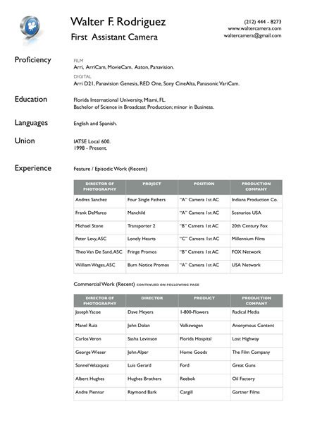 Resume Pdf File Cameraassistant Resume