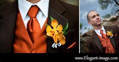 burnt orange and brown suit..   Groom and Groomsmen