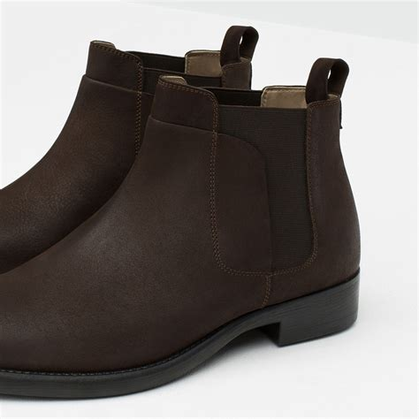 zara leather chelsea boots brown buyma