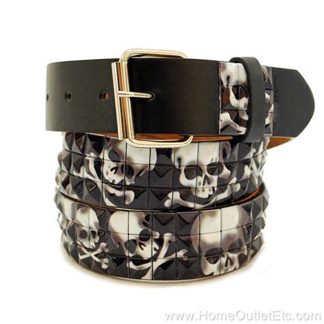 3 row metal pyramid studded leather belt skull