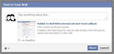 fb ui facebook publish to wall with external link and track