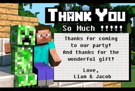 minecraft printable thank you cards minecraft party thank you cards 4x6 by dailydigitaldesigns