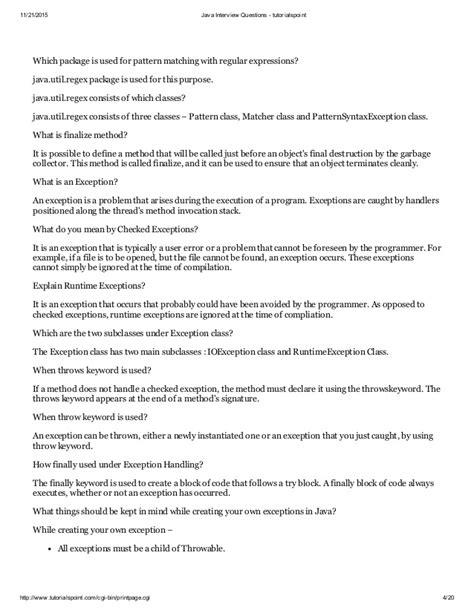 tutorialspoint regular expression java interview questions tutorialspoint
