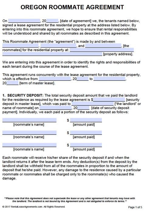 room for rent agreement template free free oregon roommate agreement template pdf word